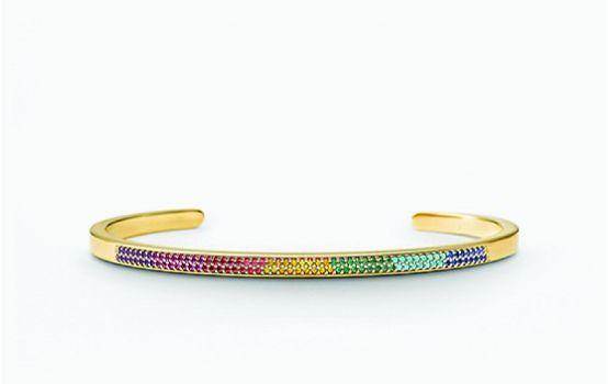 14K Gold-Plated Sterling Silver Rainbow Pavé Nesting Cuff-01