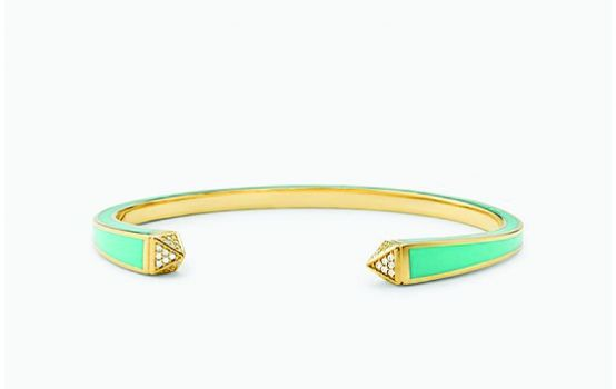 14K Gold-Plated Sterling Silver and Pavé Studded Cuff-01