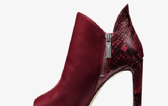 Alane Leather and Python Embossed Open-Toe Ankle Boot-08