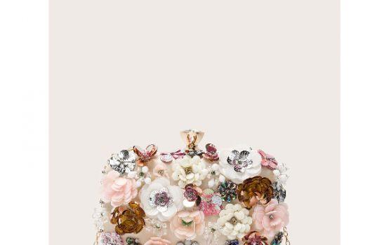 Floral Appliques Chain Clutch Bag-05