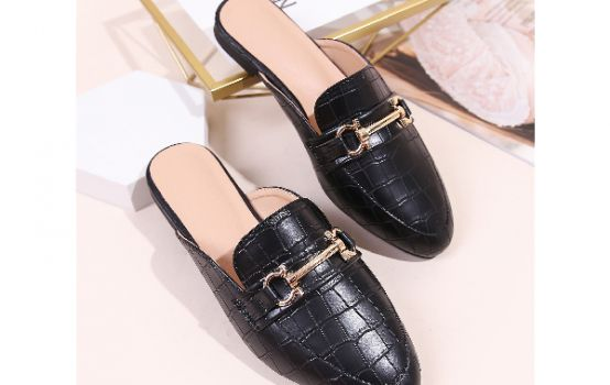 Horsebit Decor Croc Embossed Loafer Mules-01