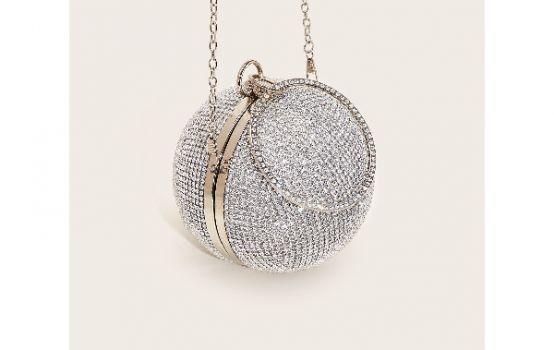 Mini Rhinestone Covered Ball Design Clutch Bag-01