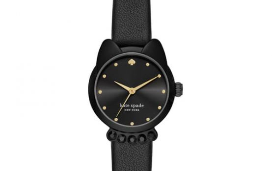 kate spade new york women's cat shaped case leather strap watch, 26mm-02